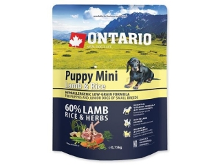ONTARIO Puppy Mini Lamb & Rice 0.75kg