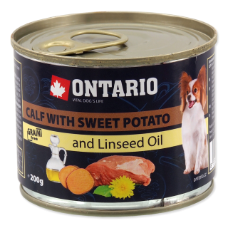 Ontario konzerva Dog mini Calf, sweet potatoe & linseed oil 200g